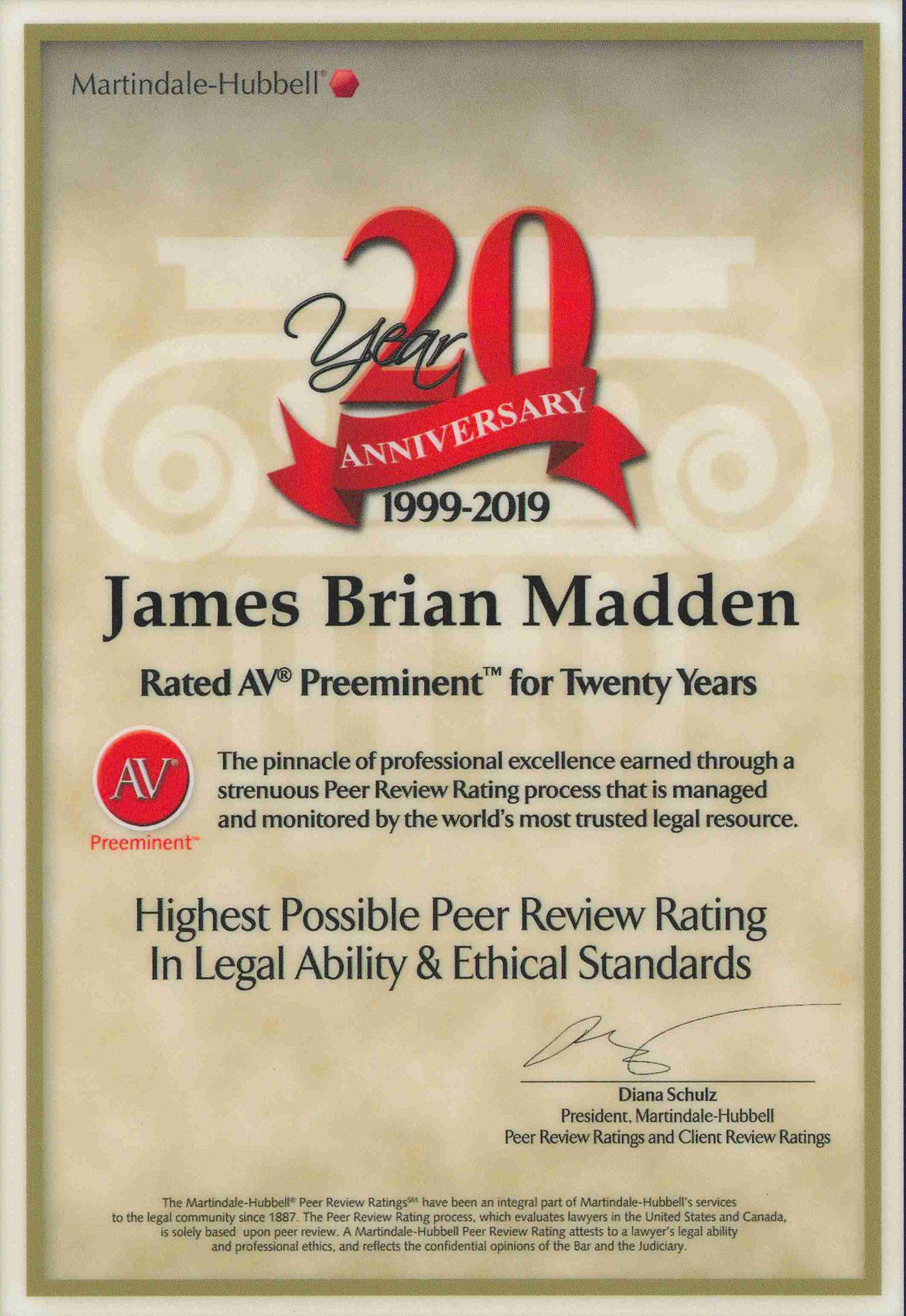 Brian's 20-year Plaque